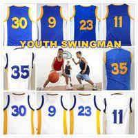 active children gifts - YOUTH KID Children Stitched Swingman Christmas Birthday Gift Curry Durant Iguodala Thompson Green Jersey Sport