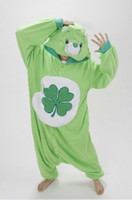 adult care bear costume - Green Four leaf Clover Lucky Care Bear Pajamas Adult Women Men Unisex Onesie One Piece Hooded Romper Party Costumes