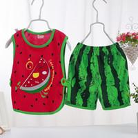 Wholesale 2017 Summer Clothes Set Watermelon Cartoon Suit Children set Vest Tops Shorts Infant Outwear Baby Girls and Boys Casual Costume