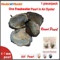 Wholesale 100pcs Individually Vacuum Packed Natural Pearl in Oyster Single AA mm Fresh Water Round Pearl Fresh Oyster with Pearls