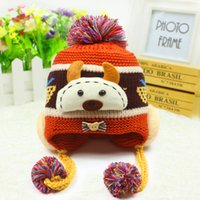 Wholesale Autumn and winter children cartoon heavy hair ball felt trilby hat Korean new knitting wool children s hat