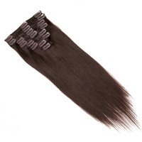 Wholesale Dark Brown Chinese Straight Human Hair Extensions No Trace Of Hair Woman Fashion Clip In Hair Set Excellent Quality