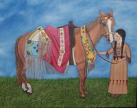 american paint horse - Native American Indian Girl and her Horse Hand Painted Portrait Animal Art Oil Painting On Canvas customized size oilar