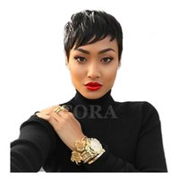 Wholesale 100 Human Hair New Fashion Black color Short Women s wigs Full wig