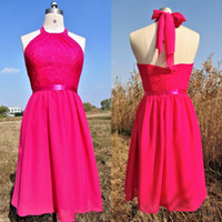 Wholesale Elegant Rose Red Lace Short Evening Dress New Arrivals In Stock Special Occasion Dresses Fashion Backless Formal Prom Party Gowns Cheap