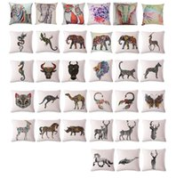 Wholesale Wild animals Cushion Cover Flag Cotton Throw Pillow Case Superhero Pillowslip Pillowcase For Decor Decorative Lounge