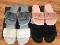 Wholesale With Box Dust Bag Leadcat Fenty Rihanna Shoes Women Slippers Indoor Sandals Girls Fashion Scuffs Pink Black White Grey Slide