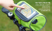 Wholesale 2016 new arrival Mountain bike accessories handlebar bags Touchscreen Transparent PVC Cell Phone pocket oxford material cycling bags