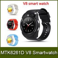 Wholesale New V8 Smart Watch Bluetooth Watches Android with M Camera MTK6261D Smartwatch for android phone Micro Sim TF card with Retail Package