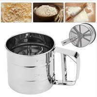 baking sifter - Stainless Steel Mesh Flour Sifter Mechanical Baking Icing Sugar Shaker Sieve Cup Screen Mesh Powder Flour Sieve Baking Tools