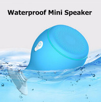 Wholesale 2017 Mini Whale Tail Floating IPX6 Waterproof Shower Portable Bluetooth Hifi Speaker with Sucker Phone Holder Stands led Light Speakers