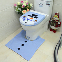 Wholesale New Christmas Santa Bathroom Toliet Seat Cover and Rug Mat Set Blue Snowman for Xmas Bathroom Decorations for Home Gifts