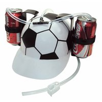 beer can hat - Hand Beer Soda Cool Party Bar Lazy Straw Drinking Cap Helmet Party holiday Game Beer Soda Dual can holder Drinking Hard Hat