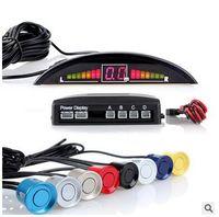 al por mayor sensores de plástico-12V LED de plástico 4 Sensor coche SUV reverso Parking Backup Radar Alert System Kit