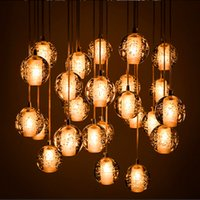 Wholesale Pendant Lamp Head Bocci LED Crystal Glass Ball Meteor Rain Ceiling Light Meteoric Shower Stair Light Droplight Chandelier Lights
