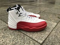 basketball shoes rose - Drop Shipping Air Retro Cherry Rising Sun White Red With Real Carbon Fiber Men Basketball Sport Shoes Size Ship With Box