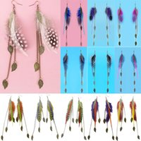 Wholesale Feather Earrings Colors Cute Leaf Charm Chain Light Dangle Eardrop Hot White Black Purple Deep Pink Sky Blue Teal JF298
