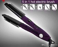 Wholesale Digital in1 Styler Hair Straightener Curler Ceramic LCD Electronic Hair Brush Ceram Styler Antiscaled Straightener Brush Comb