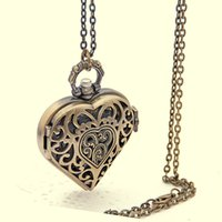 big clock necklace - New Arrive Colors Lovely Heart Antique Clock necklace chain Big Size Bronze Tone Quartz Pocket Watch Gift