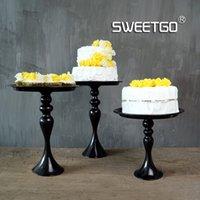al por mayor placas de hierro frutos-Venta al por mayor-1 Piezas de hierro de la vendimia de Europa Único Tier Frutas Tortas postres placa de soporte para la boda Cupcake Negro # 1540120