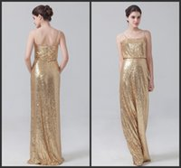 Wholesale Cheap Golden Satin - Bridesmaid Dresses Long Golden Sequined Spaghettis Sleeveless Zipper Back Floor Length Elegant Dress For Wedding Formal Wear Cheap Price