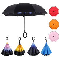 Wholesale Windproof Double Layer Inverted Folding Umbrella Reverse free Hand Self Stand Umbrella solid and print color