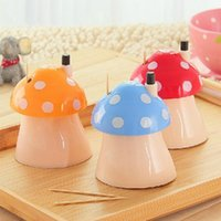 Wholesale New pocket Plastic Mushroom Design Automatic Toothpick Holder dispenser Box CN post