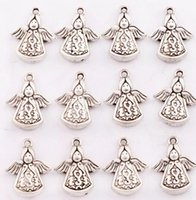 angels antiques - Antique Silver Solar Angel Praying Spacer Charm Beads Pendants Alloy Handmade Jewelry DIY L213 x16 mm