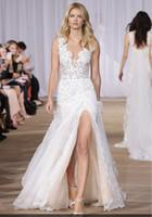 A-Line beach closure - layered lace silk organza side slit sexy wedding dresses floor length A line skirt hidden back zip closure bridal gowns