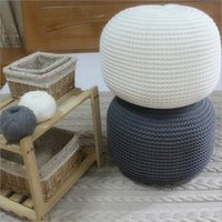 Wholesale New Style Knitted Woolen Round Cushion POUF