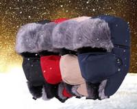 Wholesale Warm Winter Unisex Trapper Hats Winter Fleece Lined Nylon Russian Ear Flap Hat With Masks Windproof Waterproof Colors