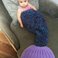 baby sleeping mattress - Newborn Mermaid Tail Blankets Mermaid Tail Sleeping Bags Cocoon Mattress Sofa Blankets Handmade Living Room baby Sleeping Bag TA63