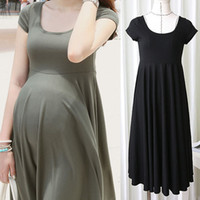 Wholesale Fashion Maternity Dresses Clothing Summer For Pregnant Women Clothing O neck Short Sleeve Colors Slim Pregnancy Dress Wear