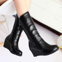Venta al por mayor-Invernal Botas de nieve Plataforma de piel Wedge Heel Mujer Botas Zapatos Tacones altos Mediados de Calf Botas Negro Blanco Marrón Grande Size12 13 43 44 45