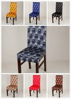 Wholesale fabric chair covers with leather printing style for office and home
