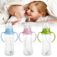 Wholesale ML Baby Cup Children Learn Drinking Straw Infant Milk Feeding Nipple Bottle Freeshipping