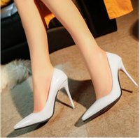 Wholesale 10cm Nude Color High heeled Shoes With Fine pointed High heeled Shoes With Shallow Mouth Sexy Black Patent Leather Work Shoes