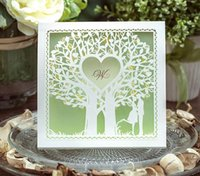 Wholesale green love tree laser cut wedding invitations card high quality