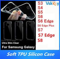 al por mayor volver clara galaxy s3-200Pcs Ultra Slim TPU caso para el Samsung Galaxy S7 borde más S3 S4 S5 S6 borde S8 Plus Clear Gel transparente transparente silicio contraportada