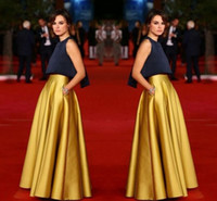 Cheap High Quality Gold Color Long Skirt With Pocket Satin Floor Length A Line Women Custom Made Color And Size Cheap Party Skirts