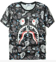 Wholesale Star shark camouflage t shirt men women summer short sleeve t shirt hip hop streetwear flame palace thrasher tshirt