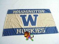 Wholesale College University of Washington Huskies Flag UW Large FTX FT Size Polyester flag