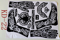 airbrushing supplies - pc KD22 Tattoo Templates hands feet henna tattoo stencils for airbrushing professional mehndi new Body Painting Kit supplies