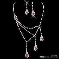 Wholesale 2016 Shinning Rhinestone Blue Lady Necklace Earring Sets Bridal Accessories Jewelry for Wedding Party Evening Prom In Stock Cheap