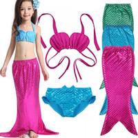 baby mermaid games - 2016 Children Girls Mermaid Tail Costume Cosplay Red Color Baby Kid Mermaid Tails Bikini Swimming Mermaid Swimsuit Set Age Y