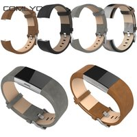 Wholesale HOT SALE For fitbit charge Strap Band Genuine Leather Strap For Fitbit charge smart bracelet replace bands wristband brown gray black