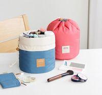 Wholesale 6 Styles Barrel Shaped Travel Cosmetic Bag Nylon High Capacity Drawstring Elegant Drum Wash Bags Makeup Storage Bag