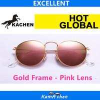 achat en gros de lunettes à montures en métal rose-KaChen # 10 112 / z2 112/58 Taille 50mm Cadre en or miroir Rouge Cire Lente ronde UV400 protection cadre en métal lunettes de soleil lunettes hommes femmes