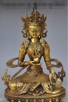 amitayus buddha - Old Tibet Buddhism fane Bronze gilt kwan yin Bodhisattva Amitayus Buddha Statue