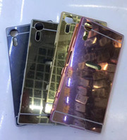 achat en gros de cas métalliques compacts-Pour Sony Xperia XZS, XA, XZ, X Compact, X Performance Mirror Case + Cadre en aluminium pour pare-chocs Hybrid Bling Hard Alloy Metallic Plating Metal Skin